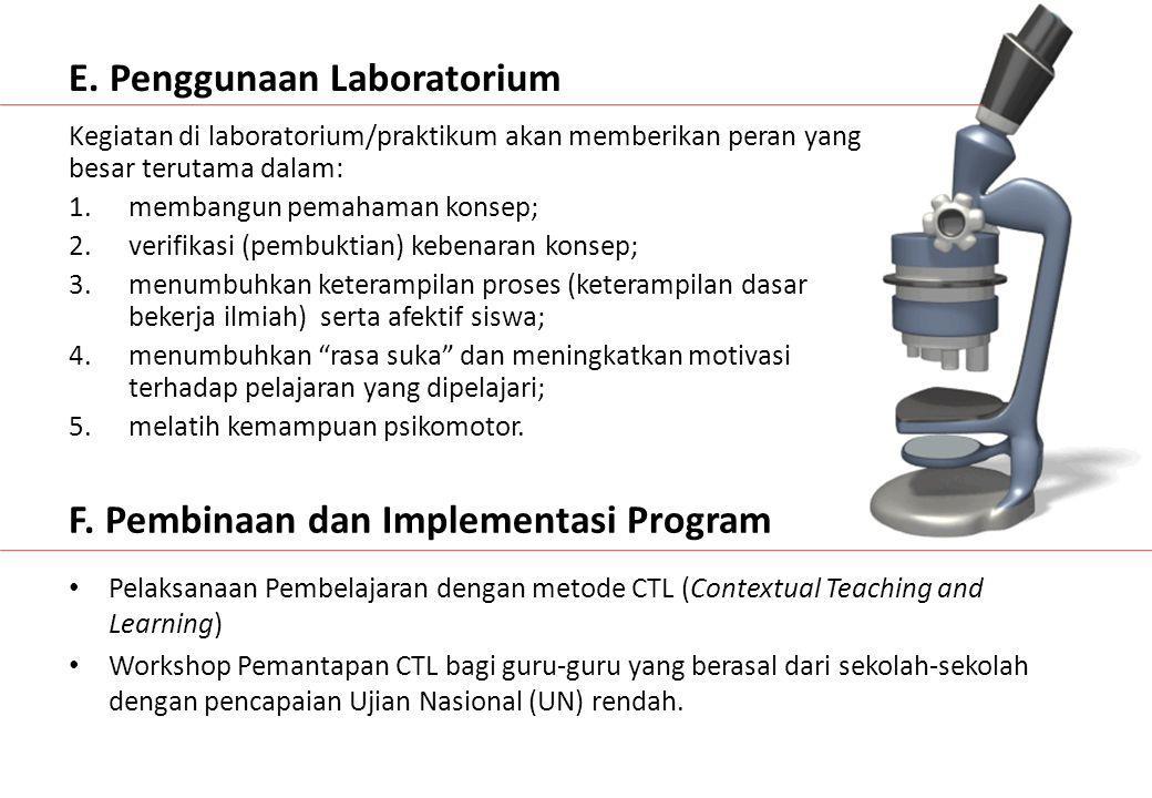 E. Penggunaan Laboratorium Kegiatan di laboratorium/praktikum akan memberikan peran yang besar terutama dalam: 1.membangun pemahaman konsep; 2.verifik