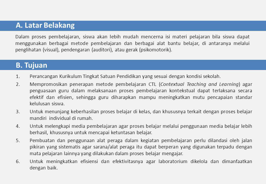 B. Tujuan 1.Perancangan Kurikulum Tingkat Satuan Pendidikan yang sesuai dengan kondisi sekolah.