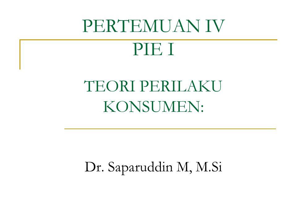 PERTEMUAN IV PIE I Dr. Saparuddin M, M.Si TEORI PERILAKU KONSUMEN: