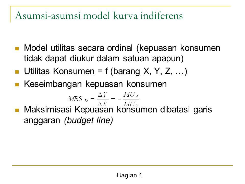Bagian 1 Asumsi-asumsi model kurva indiferens Model utilitas secara ordinal (kepuasan konsumen tidak dapat diukur dalam satuan apapun) Utilitas Konsum