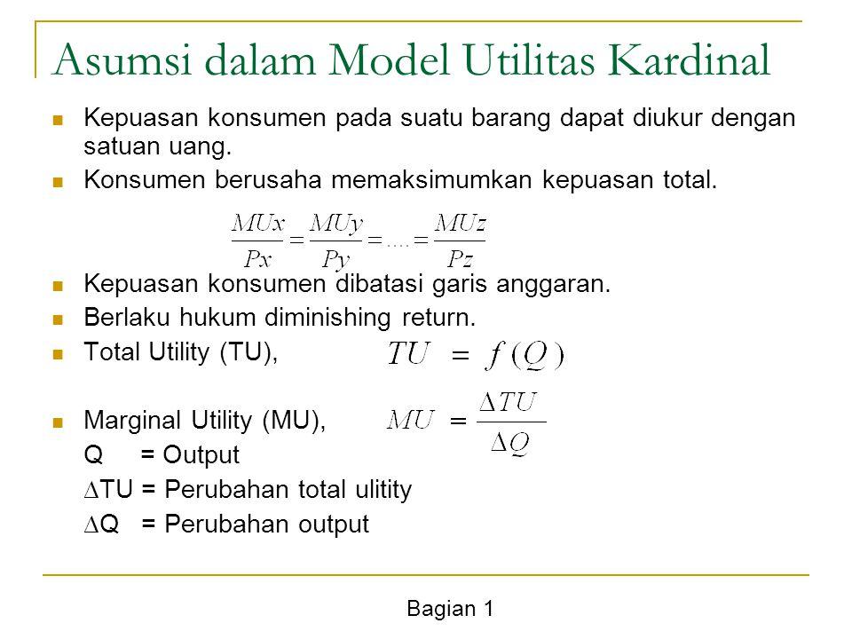 Bagian 1 Asumsi dalam Model Utilitas Kardinal Kepuasan konsumen pada suatu barang dapat diukur dengan satuan uang. Konsumen berusaha memaksimumkan kep