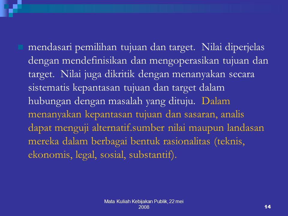 Mata Kuliah Kebijakan Publik, 22 mei 200814 mendasari pemilihan tujuan dan target.