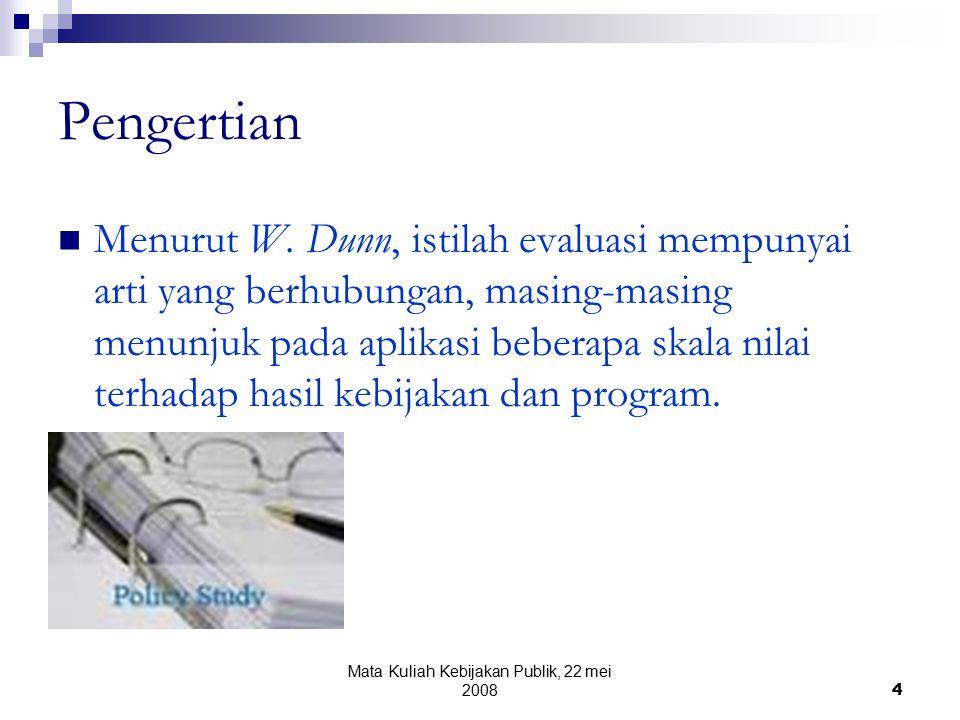 Mata Kuliah Kebijakan Publik, 22 mei 20084 Pengertian Menurut W.