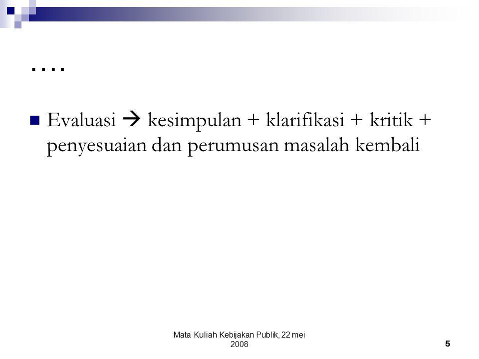 Mata Kuliah Kebijakan Publik, 22 mei 20085 ….