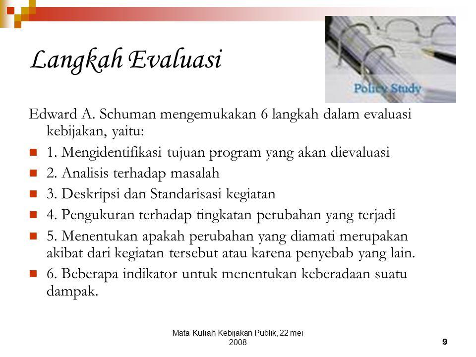 Mata Kuliah Kebijakan Publik, 22 mei 20089 Langkah Evaluasi Edward A.