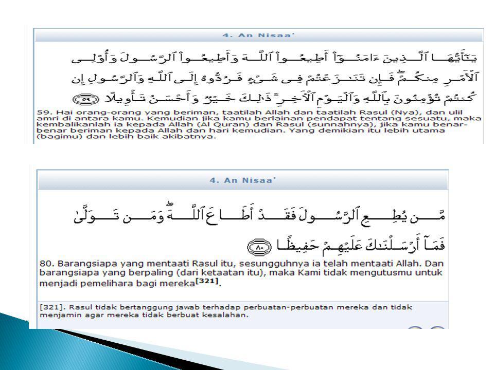  6 buku yang diterima secara luas sebagai himpunan hadist yang paling baik (sihah al sittah): ◦ Kitab Shahih Bukhari ◦ Kitab Shahih Muslim ◦ Kitab Sunan An-Nasai ◦ Kitab Sunan Abu Dawud ◦ Kitab Sunan At-Tirmidzi ◦ Kitab Sunanibnu Majah Kitab shahih adalah suatu buku yang hanya memamsukkan hadist-hadist shahih (kualifikasi tertinggi Kitab Sunan : memuat tidak hanya hadist-hadist shahih saja tetapi juga hadist yang memiliki kualifikasi di bawahnya misalnya hadist Hasan dan bahkan Dla'if