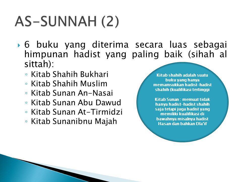  6 buku yang diterima secara luas sebagai himpunan hadist yang paling baik (sihah al sittah): ◦ Kitab Shahih Bukhari ◦ Kitab Shahih Muslim ◦ Kitab Su