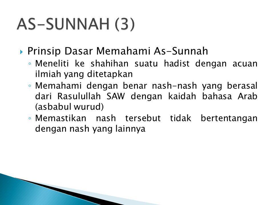  Prinsip Dasar Memahami As-Sunnah ◦ Meneliti ke shahihan suatu hadist dengan acuan ilmiah yang ditetapkan ◦ Memahami dengan benar nash-nash yang bera