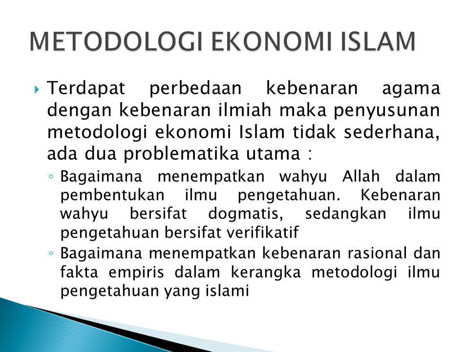  Terdapat perbedaan kebenaran agama dengan kebenaran ilmiah maka penyusunan metodologi ekonomi Islam tidak sederhana, ada dua problematika utama : ◦