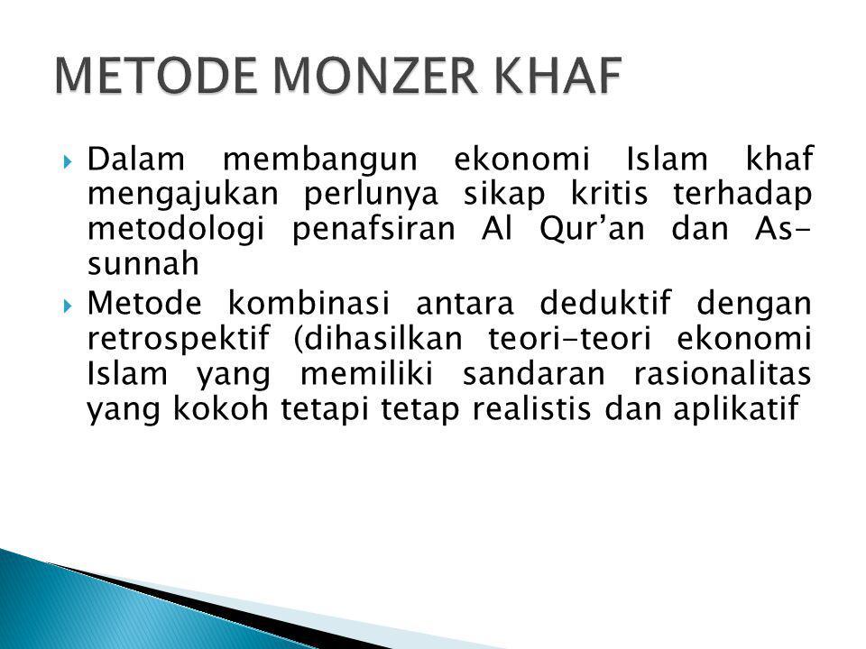  Dalam membangun ekonomi Islam khaf mengajukan perlunya sikap kritis terhadap metodologi penafsiran Al Qur'an dan As- sunnah  Metode kombinasi antar
