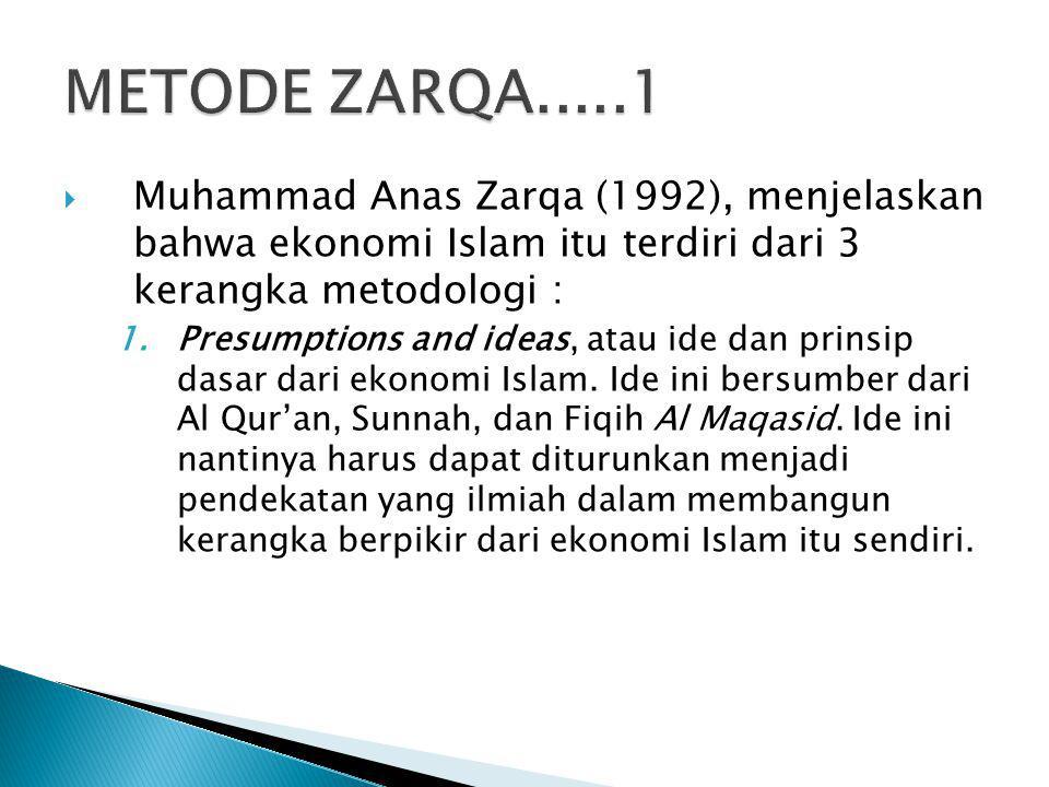  Muhammad Anas Zarqa (1992), menjelaskan bahwa ekonomi Islam itu terdiri dari 3 kerangka metodologi : 1.Presumptions and ideas, atau ide dan prinsip