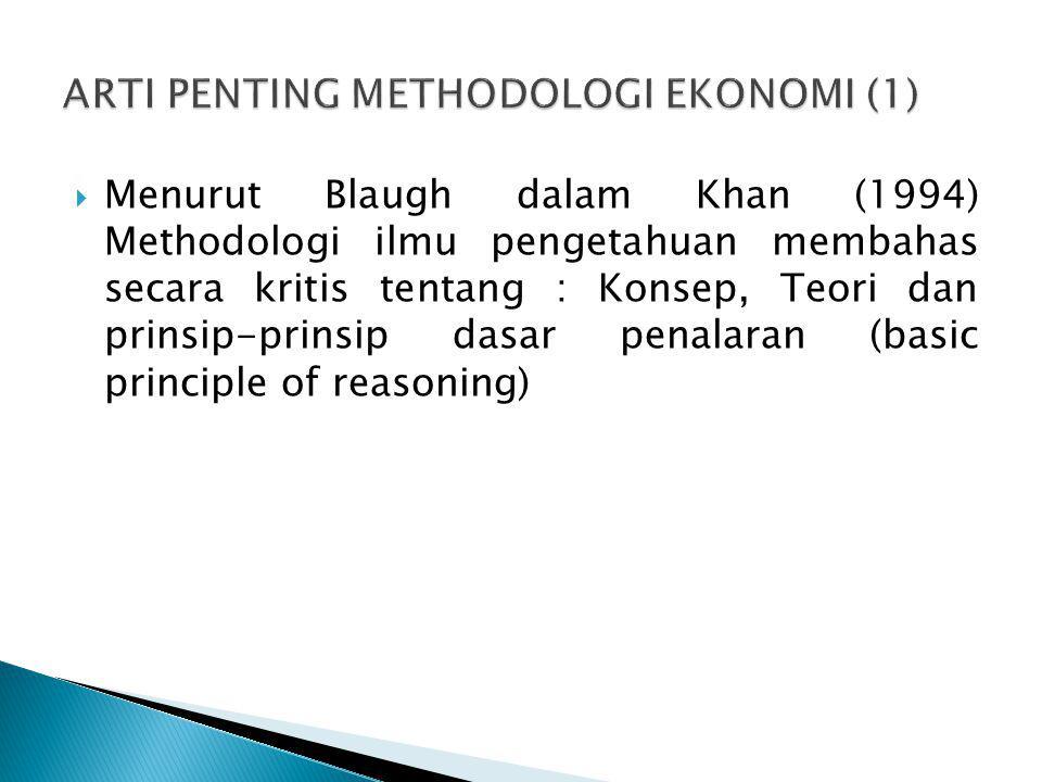  Menurut Blaugh dalam Khan (1994) Methodologi ilmu pengetahuan membahas secara kritis tentang : Konsep, Teori dan prinsip-prinsip dasar penalaran (ba