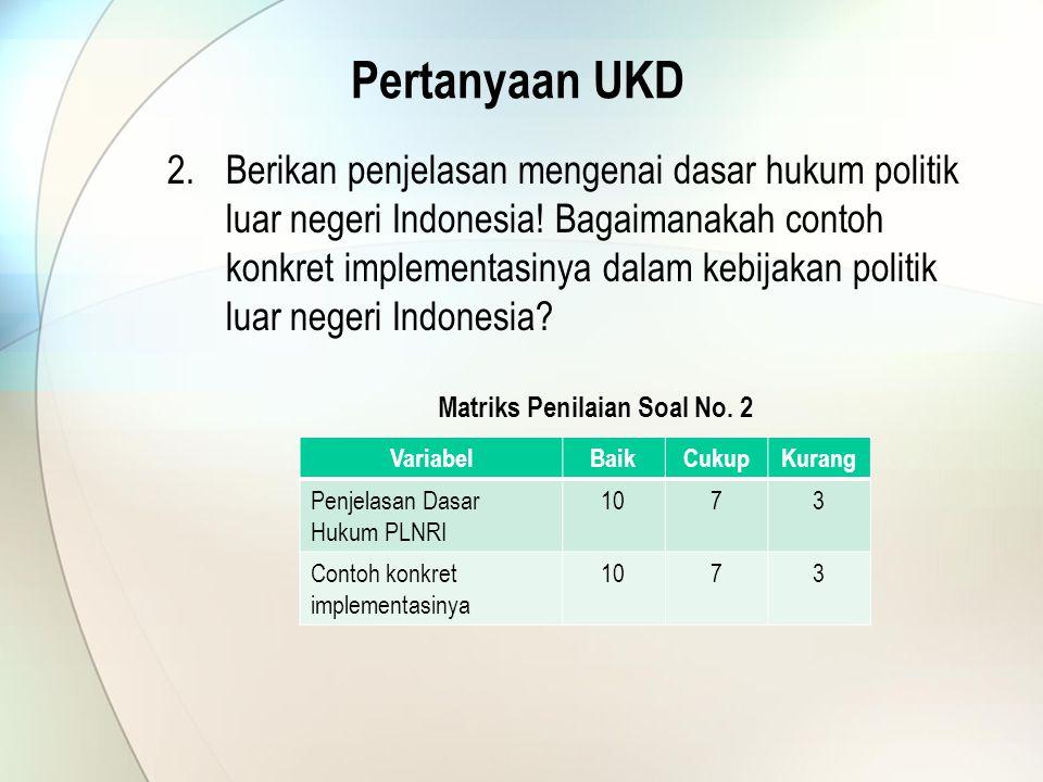 Pertanyaan UKD 2.Berikan penjelasan mengenai dasar hukum politik luar negeri Indonesia.