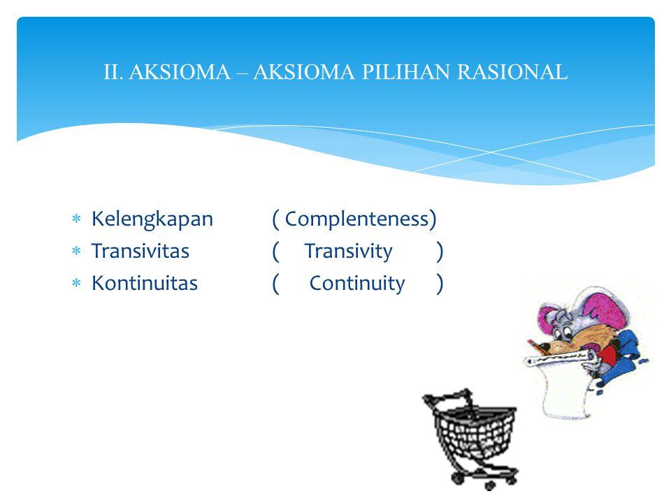  Kelengkapan( Complenteness)  Transivitas( Transivity )  Kontinuitas( Continuity ) II. AKSIOMA – AKSIOMA PILIHAN RASIONAL