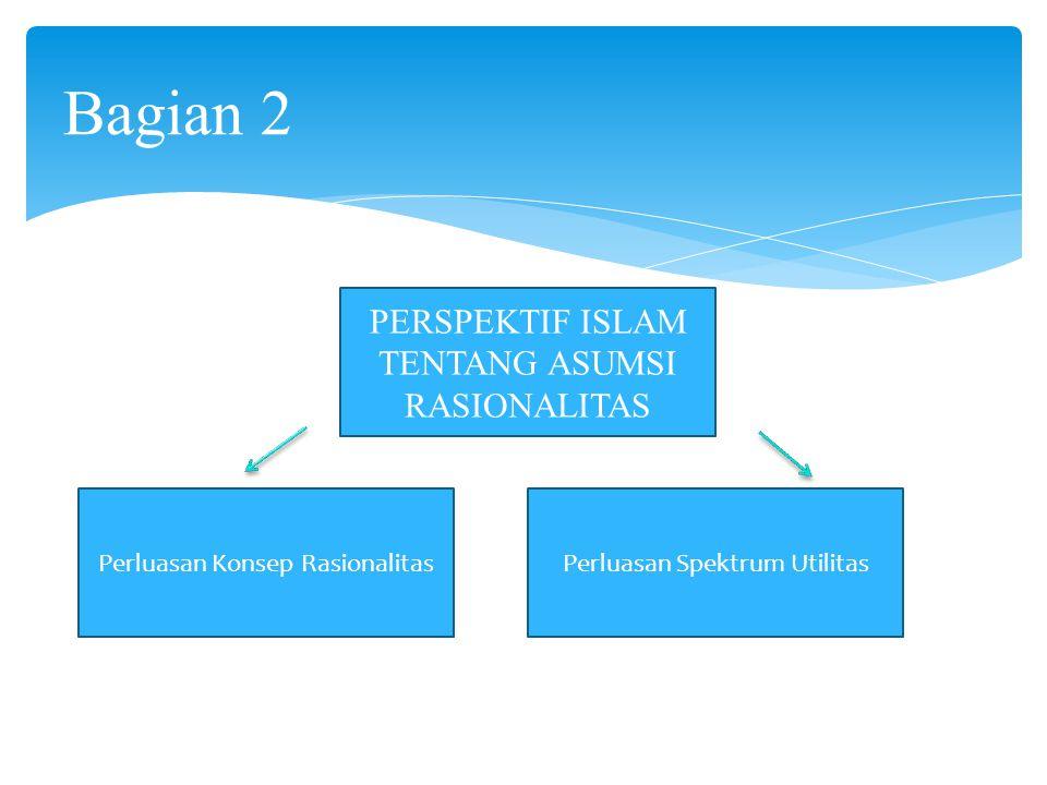 Bagian 2 PERSPEKTIF ISLAM TENTANG ASUMSI RASIONALITAS Perluasan Konsep RasionalitasPerluasan Spektrum Utilitas