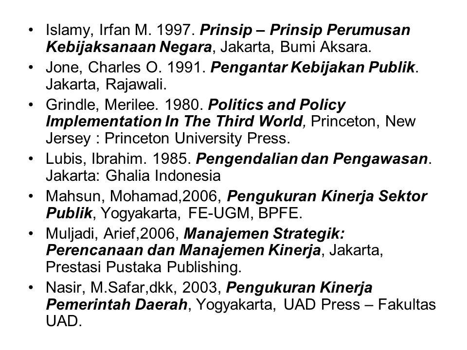 REFERENSI Agustino, L. 2006. Dasar - Dasar Kebijakan Publik, Bandung, Anfabeta. Anderson, James E. 1979. Public Policy Making, Second Edition. United