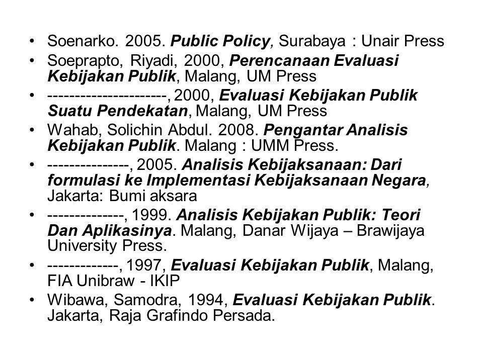 Nugroho, Riant. 2003. Kebijakan Publik: Formulasi, Implementasi, dan Evaluasi, Jakarta, Gramedia. Nugroho, Riant. 2006. Kebijakan Publik Untuk Negara