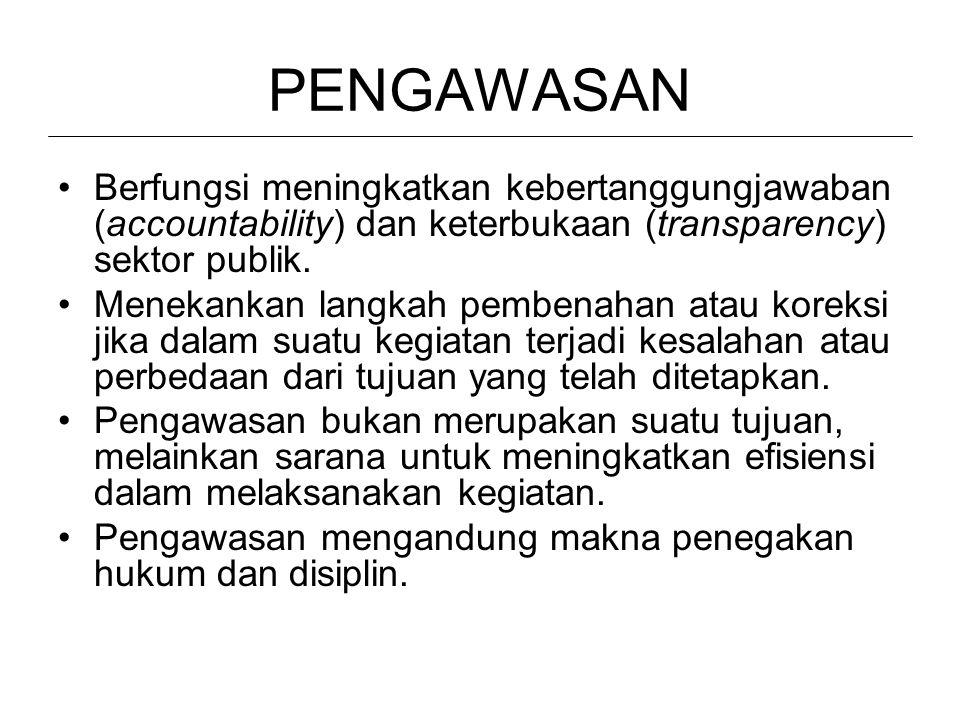 PENGAWASAN Berfungsi meningkatkan kebertanggungjawaban (accountability) dan keterbukaan (transparency) sektor publik.