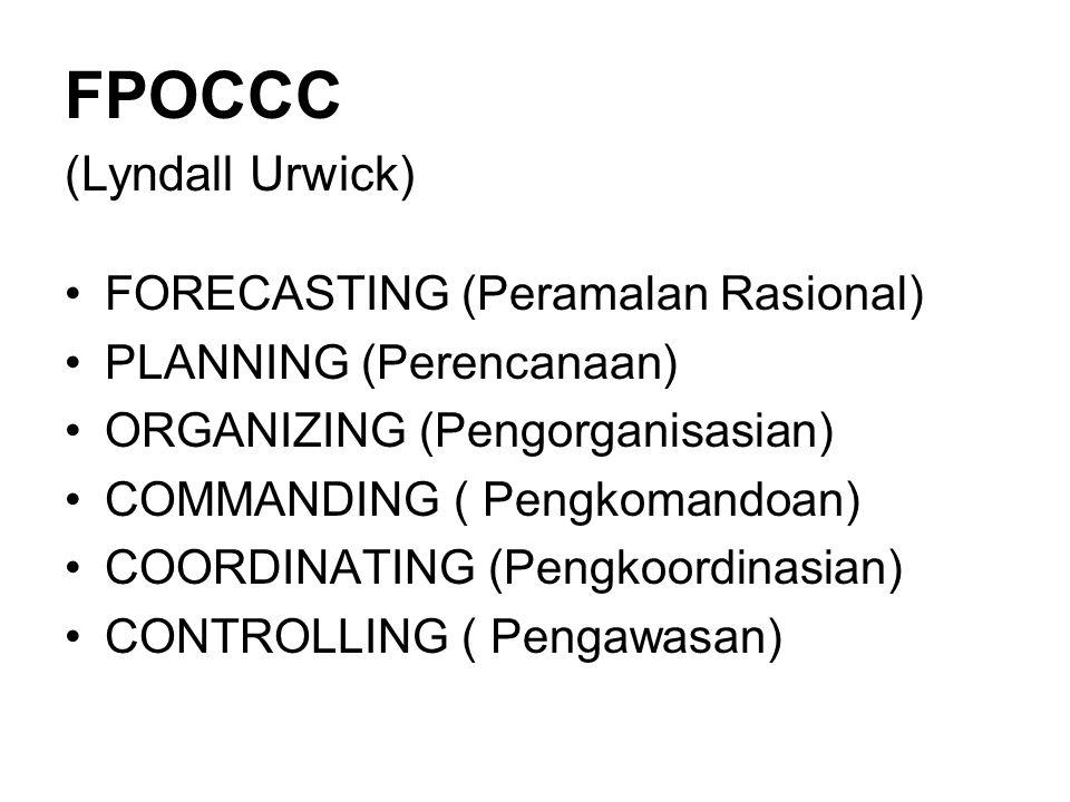 POSDCORB (Luther Gullick) PLANNING (Perencanaan) ORGANIZING (Pengorganisasian) STAFFING (Susunan Kepegawaian) DIRECTING (Pengarahan) COORDINATING (Pen