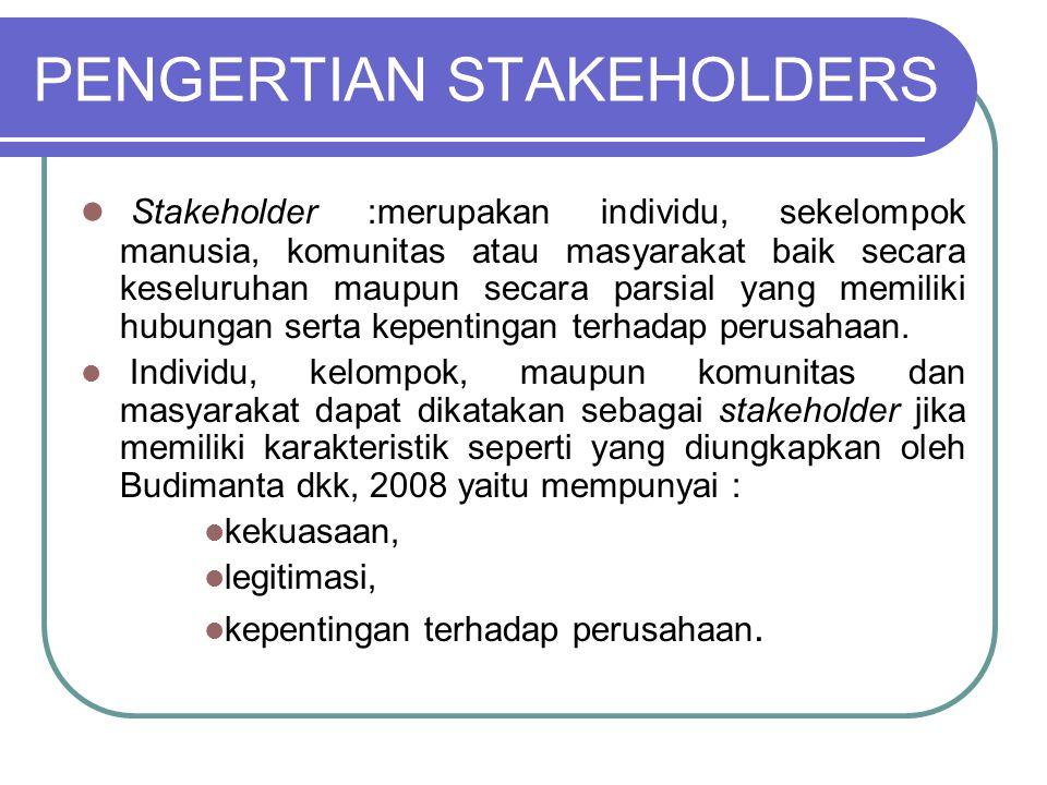 PENGERTIAN STAKEHOLDERS Stakeholder :merupakan individu, sekelompok manusia, komunitas atau masyarakat baik secara keseluruhan maupun secara parsial yang memiliki hubungan serta kepentingan terhadap perusahaan.