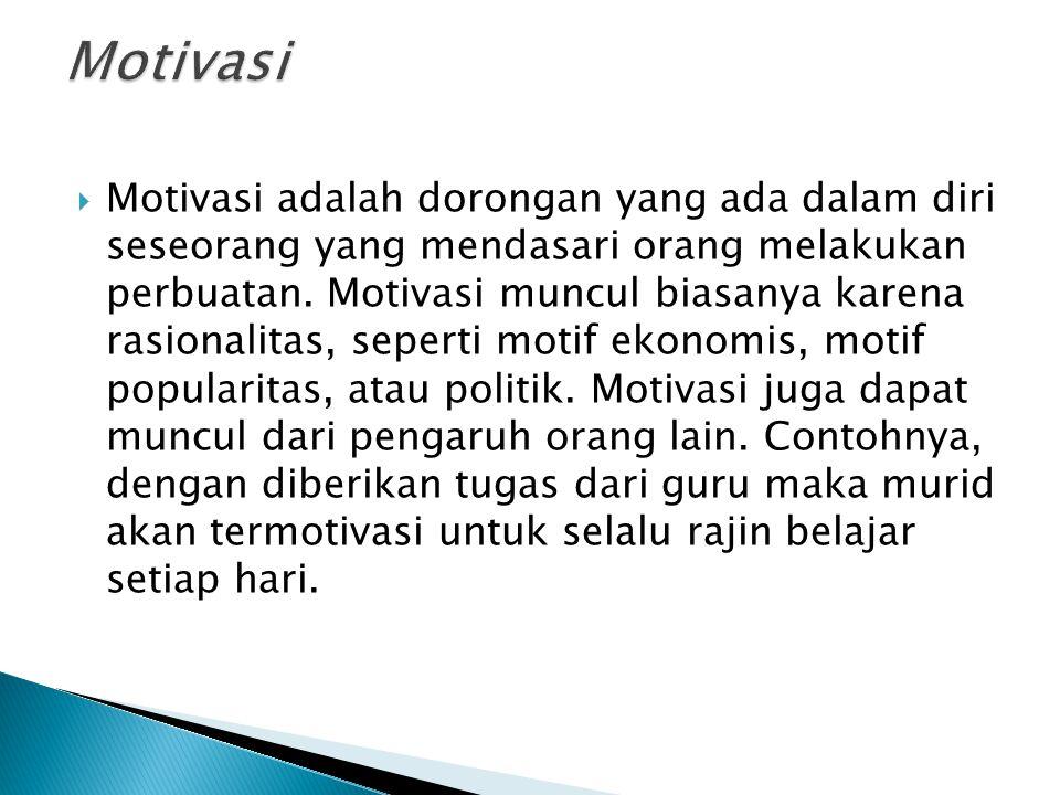  Motivasi adalah dorongan yang ada dalam diri seseorang yang mendasari orang melakukan perbuatan.
