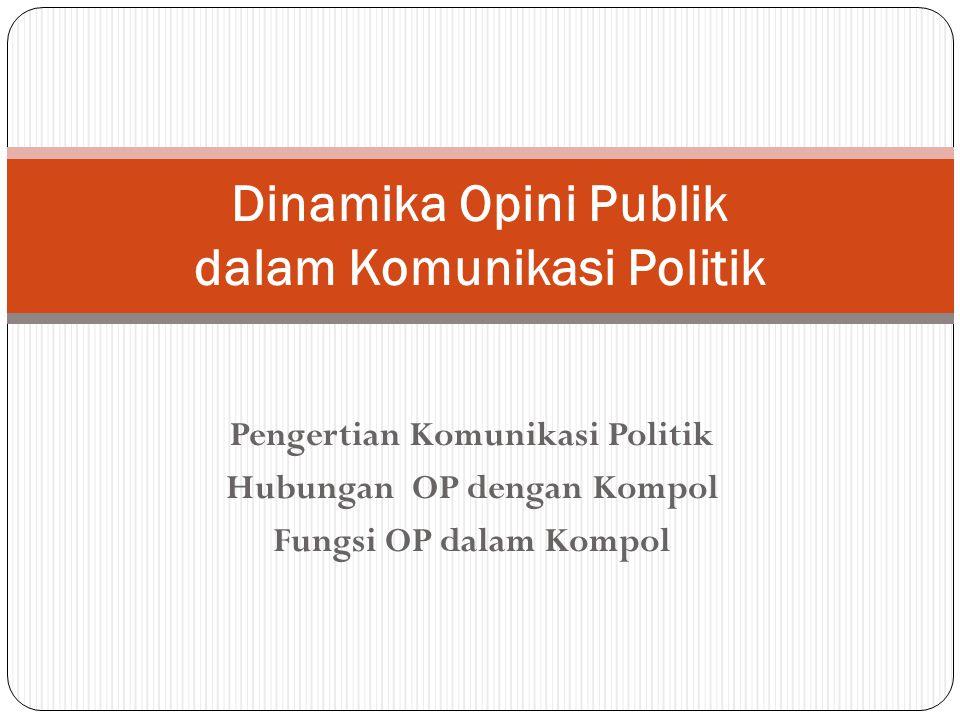 Pengertian Komunikasi Politik Hubungan OP dengan Kompol Fungsi OP dalam Kompol Dinamika Opini Publik dalam Komunikasi Politik