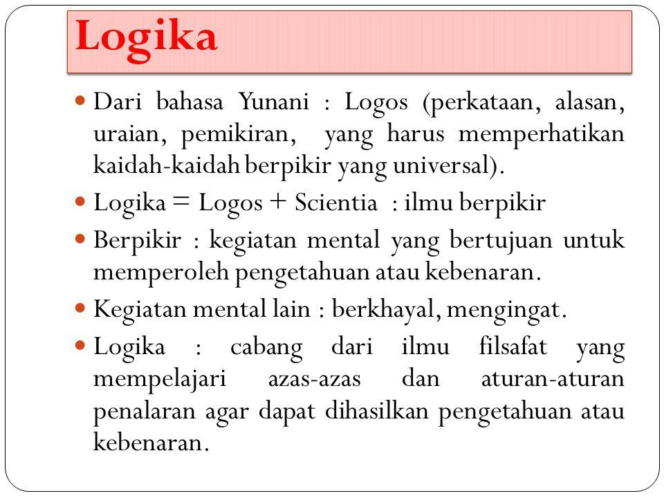 Logika Dari bahasa Yunani : Logos (perkataan, alasan, uraian, pemikiran, yang harus memperhatikan kaidah-kaidah berpikir yang universal). Logika = Log