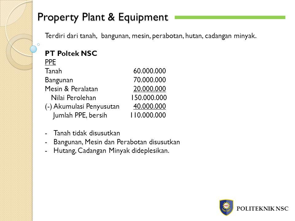 Property Plant & Equipment POLITEKNIK NSC Terdiri dari tanah, bangunan, mesin, perabotan, hutan, cadangan minyak. PT Poltek NSC PPE Tanah60.000.000 Ba
