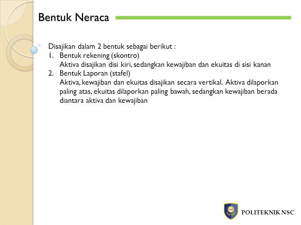 Bentuk Neraca POLITEKNIK NSC Disajikan dalam 2 bentuk sebagai berikut : 1.Bentuk rekening (skontro) Aktiva disajikan disi kiri, sedangkan kewajiban da
