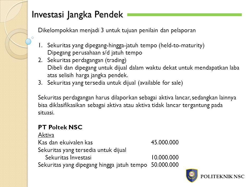 Investasi Jangka Pendek POLITEKNIK NSC Dikelompokkan menjadi 3 untuk tujuan penilain dan pelaporan 1.Sekuritas yang dipegang-hingga-jatuh tempo (held-