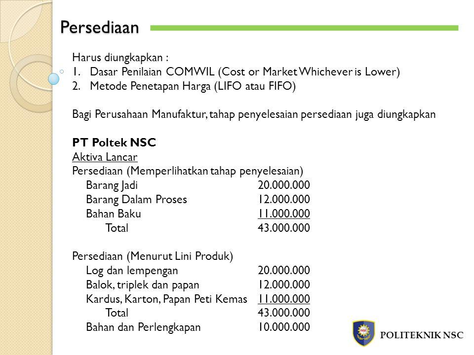 Persediaan POLITEKNIK NSC Harus diungkapkan : 1.Dasar Penilaian COMWIL (Cost or Market Whichever is Lower) 2.Metode Penetapan Harga (LIFO atau FIFO) B