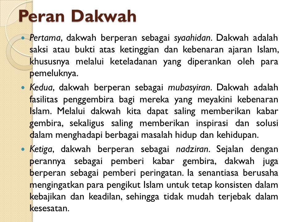 LANDASAN DAKWAH Perintah Allah (QS An Nahl/16 : 125, QS Al Fushilat/41 : 33) ادْعُ إِلَى سَبِيلِ رَبِّكَ بِالْحِكْمَةِ وَالْمَوْعِظَةِ الْحَسَنَةِ وَجَادِلْهُمْ بِالَّتِي هِيَ أَحْسَنُ إِنَّ رَبَّكَ هُوَ أَعْلَمُ بِمَنْ ضَلَّ عَنْ سَبِيلِهِ وَهُوَ أَعْلَمُ بِالْمُهْتَدِينَ Serulah (manusia) kepada jalan Tuhanmu dengan hikmah dan palajaran yang baik dan bantahlah mereka dengan cara yang baik.