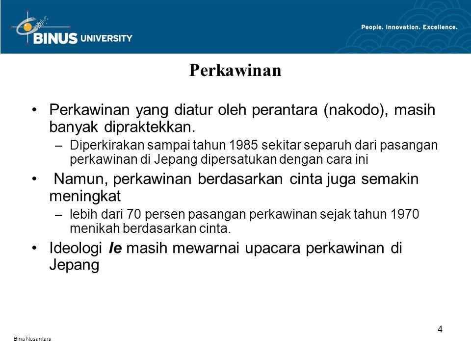 Bina Nusantara Perkawinan yang diatur oleh perantara (nakodo), masih banyak dipraktekkan. –Diperkirakan sampai tahun 1985 sekitar separuh dari pasanga