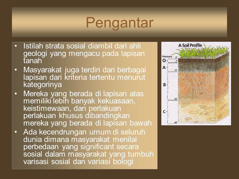 Pengantar Istilah strata sosial diambil dari ahli geologi yang mengacu pada lapisan tanah Masyarakat juga terdiri dari berbagai lapisan dari kriteria
