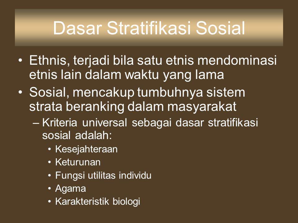 Dasar Stratifikasi Sosial Ethnis, terjadi bila satu etnis mendominasi etnis lain dalam waktu yang lama Sosial, mencakup tumbuhnya sistem strata berank