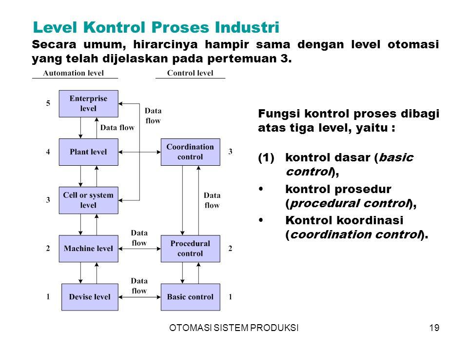 OTOMASI SISTEM PRODUKSI19 Level Kontrol Proses Industri Secara umum, hirarcinya hampir sama dengan level otomasi yang telah dijelaskan pada pertemuan