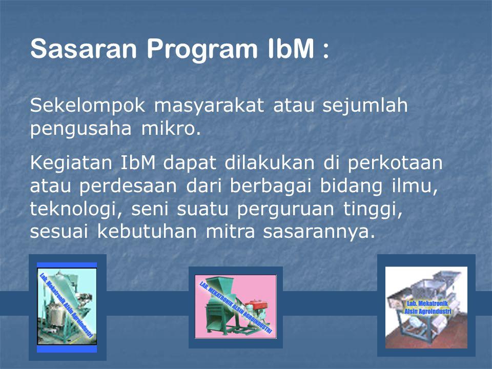 Sasaran Program IbM : Sekelompok masyarakat atau sejumlah pengusaha mikro. Kegiatan IbM dapat dilakukan di perkotaan atau perdesaan dari berbagai bida