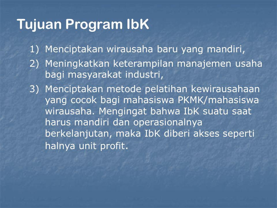 Tujuan Program IbK 1)Menciptakan wirausaha baru yang mandiri, 2)Meningkatkan keterampilan manajemen usaha bagi masyarakat industri, 3)Menciptakan metode pelatihan kewirausahaan yang cocok bagi mahasiswa PKMK/mahasiswa wirausaha.