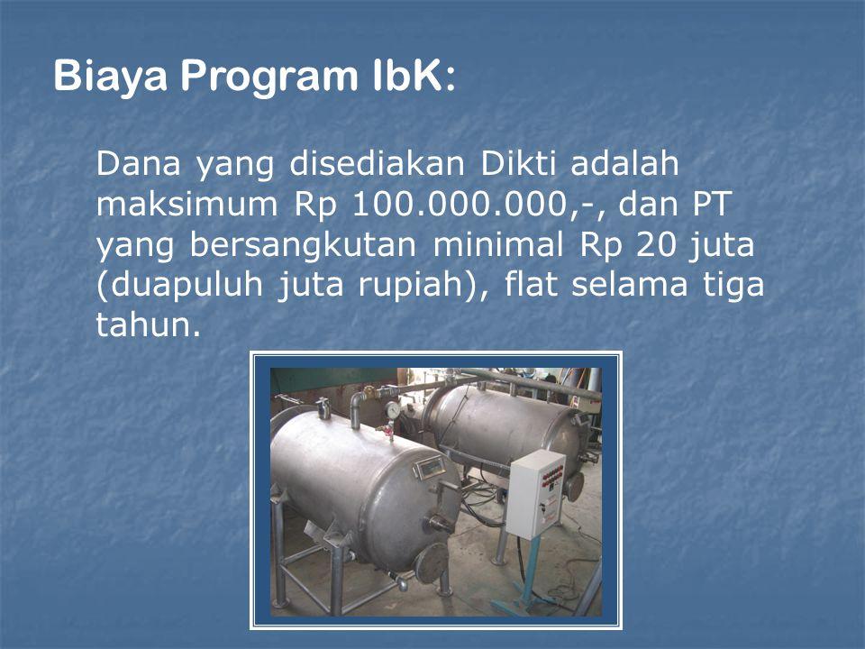 Biaya Program IbK: Dana yang disediakan Dikti adalah maksimum Rp 100.000.000,-, dan PT yang bersangkutan minimal Rp 20 juta (duapuluh juta rupiah), flat selama tiga tahun.