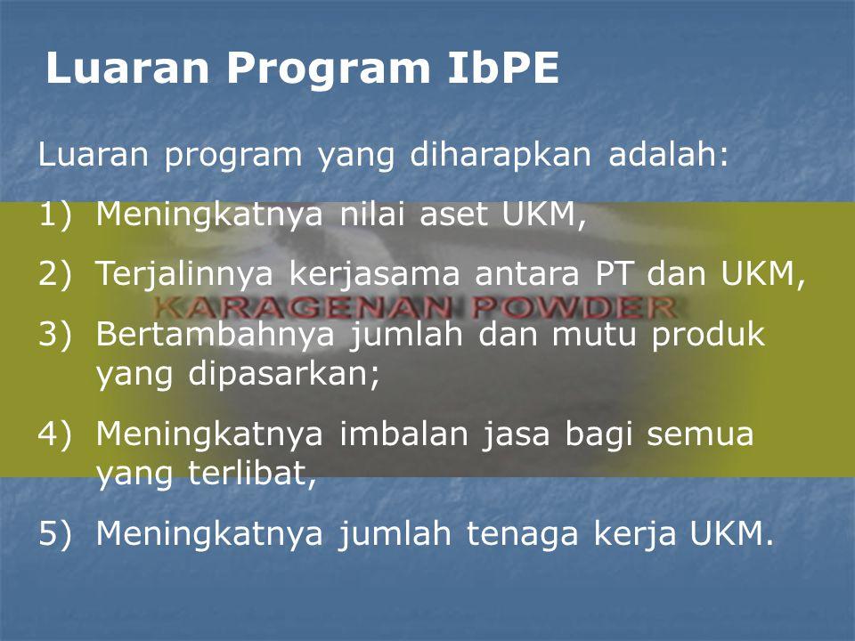 Luaran Program IbPE Luaran program yang diharapkan adalah: 1)Meningkatnya nilai aset UKM, 2)Terjalinnya kerjasama antara PT dan UKM, 3)Bertambahnya jumlah dan mutu produk yang dipasarkan; 4)Meningkatnya imbalan jasa bagi semua yang terlibat, 5)Meningkatnya jumlah tenaga kerja UKM.