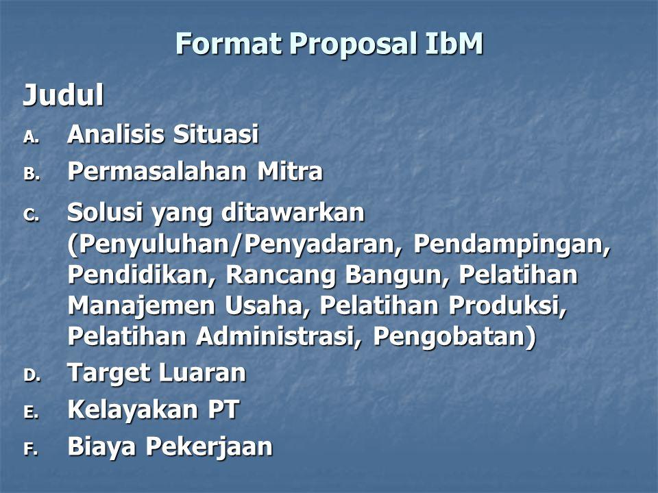 Format Proposal IbM Judul A. Analisis Situasi B. Permasalahan Mitra C. Solusi yang ditawarkan (Penyuluhan/Penyadaran, Pendampingan, Pendidikan, Rancan