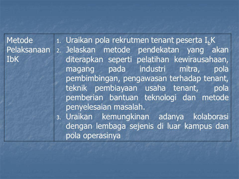Metode Pelaksanaan IbK 1.Uraikan pola rekrutmen tenant peserta I b K 2.