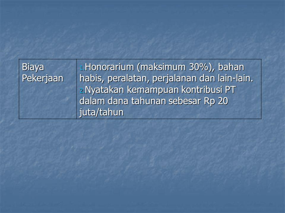 Biaya Pekerjaan 1. Honorarium (maksimum 30%), bahan habis, peralatan, perjalanan dan lain-lain. 2. Nyatakan kemampuan kontribusi PT dalam dana tahunan