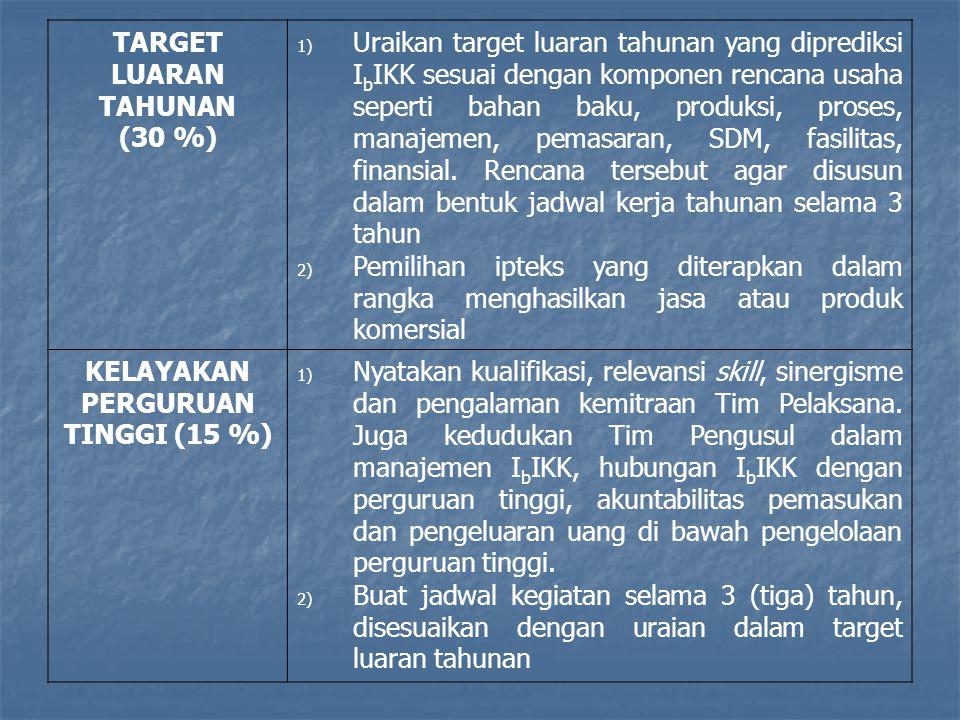 TARGET LUARAN TAHUNAN (30 %) 1) Uraikan target luaran tahunan yang diprediksi I b IKK sesuai dengan komponen rencana usaha seperti bahan baku, produks