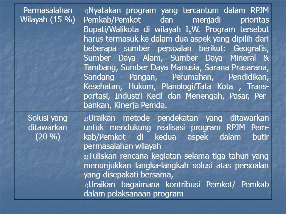 Permasalahan Wilayah (15 %) 1) Nyatakan program yang tercantum dalam RPJM Pemkab/Pemkot dan menjadi prioritas Bupati/Walikota di wilayah I b W. Progra