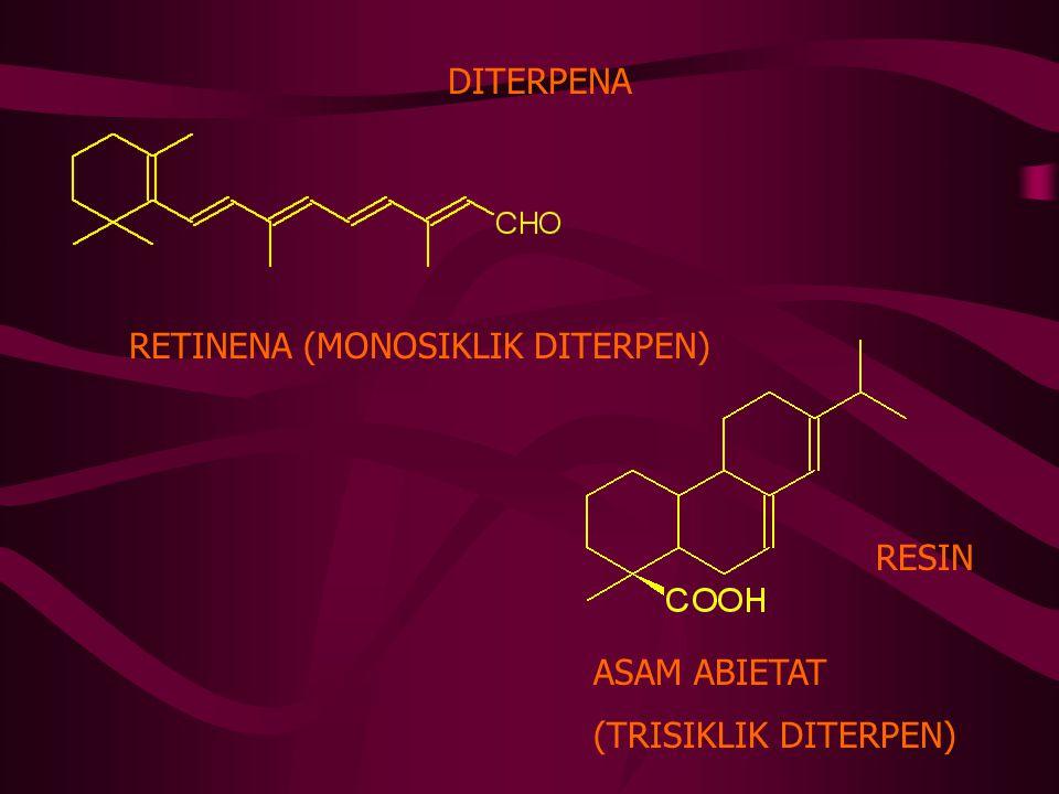 DITERPENA RETINENA (MONOSIKLIK DITERPEN) ASAM ABIETAT (TRISIKLIK DITERPEN) RESIN