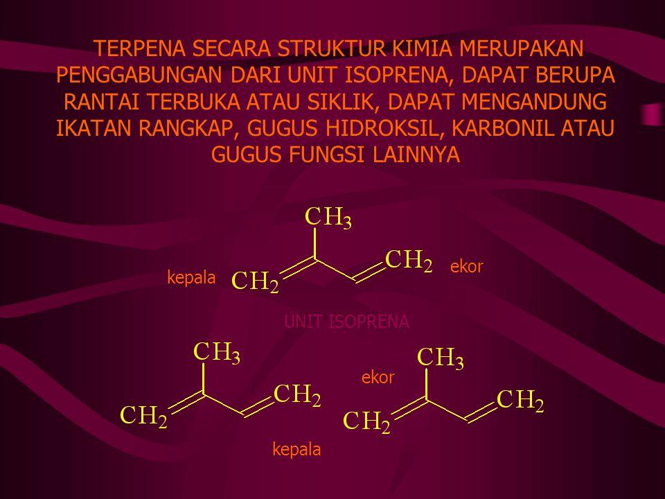 TERPENA/TERPENOIDA BAHAN TUMBUHAN DENGAN BAU KHAS DESTILASI UAP AIR MINYAK ATSIRI (ESSENTIAL OILS) MENGANDUNG SEYAWAAN ORGANIK TERPENA (TERPENTIN) TER
