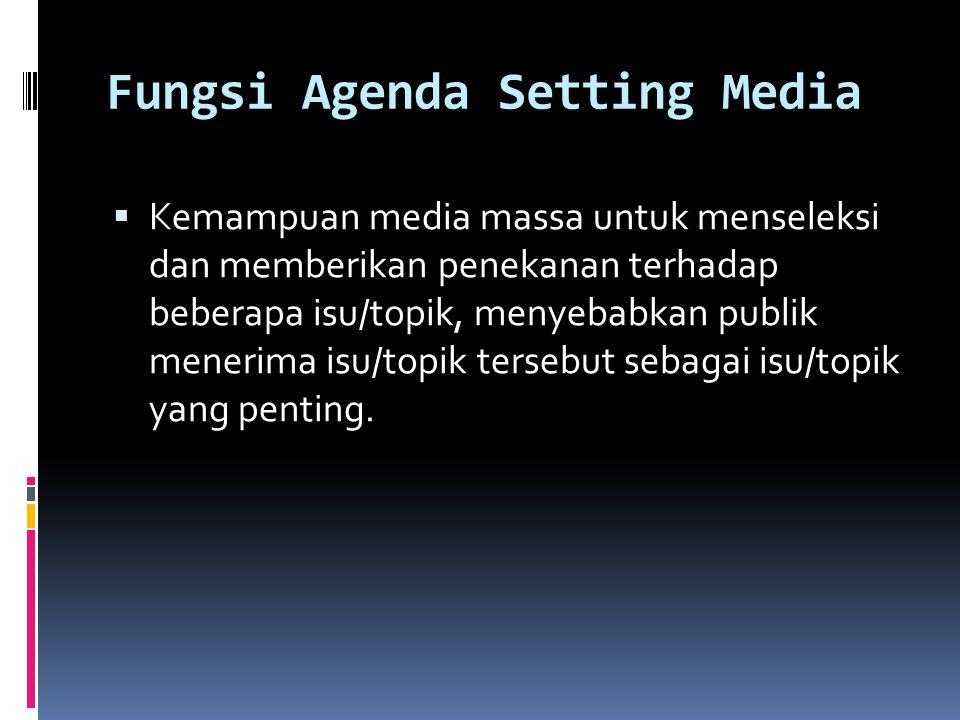Fungsi Agenda Setting Media  Kemampuan media massa untuk menseleksi dan memberikan penekanan terhadap beberapa isu/topik, menyebabkan publik menerima isu/topik tersebut sebagai isu/topik yang penting.