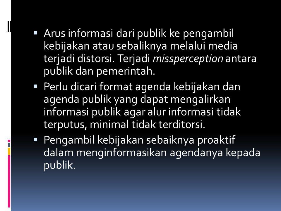  Arus informasi dari publik ke pengambil kebijakan atau sebaliknya melalui media terjadi distorsi.