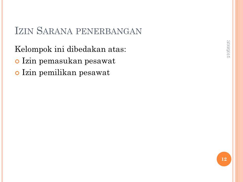 I ZIN S ARANA PENERBANGAN Kelompok ini dibedakan atas: Izin pemasukan pesawat Izin pemilikan pesawat 3/30/2015 12